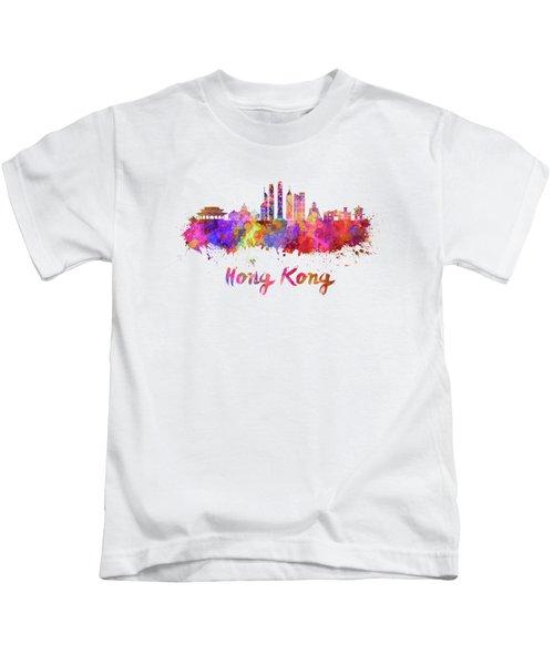Hong Kong V2 Skyline In Watercolor Kids T-Shirt