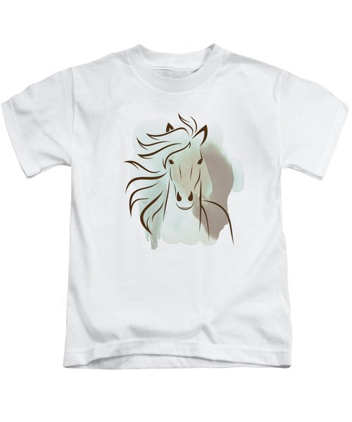 Horse Wall Art - Elegant Bright Pastel Color Animals Kids T-Shirt by Wall Art Prints