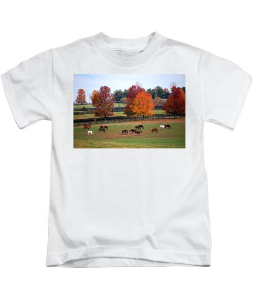 Horses Grazing In The Fall Kids T-Shirt