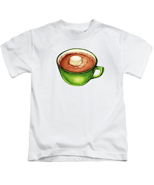 Hot Cocoa Pattern Kids T-Shirt by Kelly Gilleran