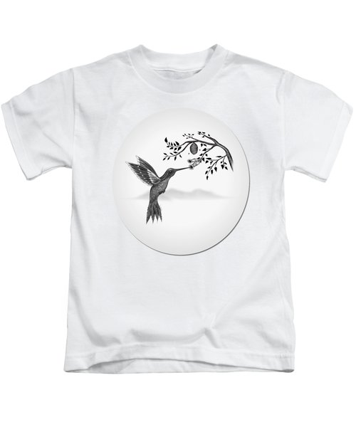Hummingbird On Oval Kids T-Shirt