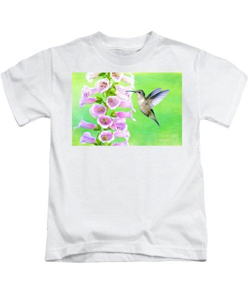 Hummingbird And Foxglove Kids T-Shirt