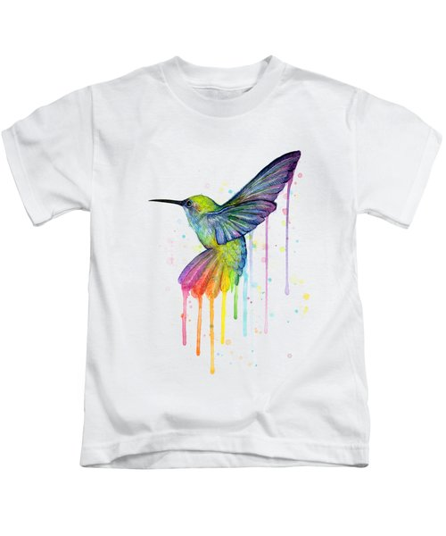 Hummingbird Of Watercolor Rainbow Kids T-Shirt
