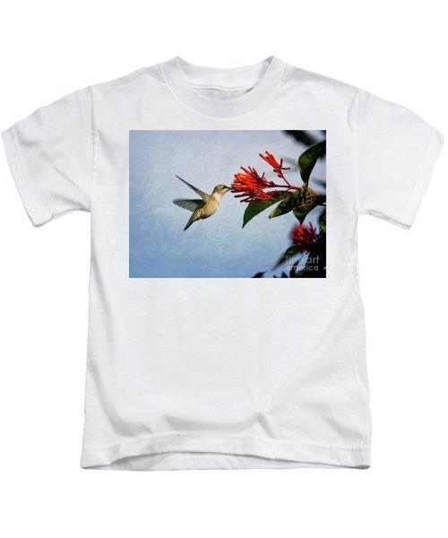 Hummingbird Red Flowers Kids T-Shirt