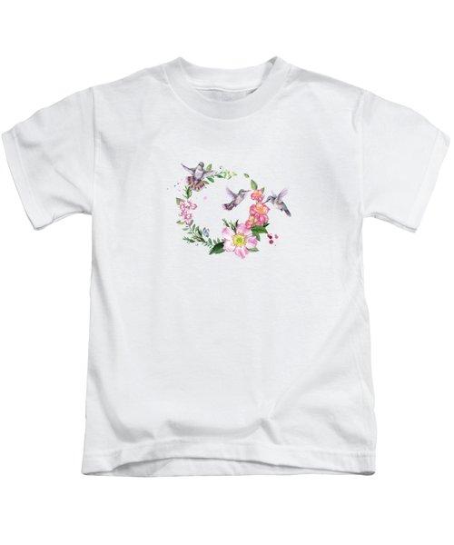 Hummingbird Wreath In Watercolor Kids T-Shirt