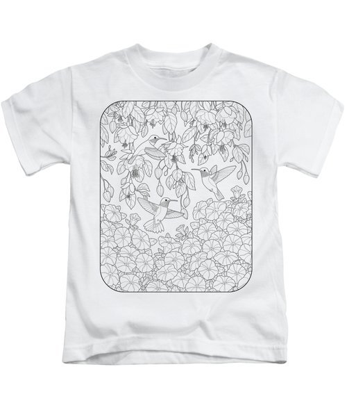 Hummingbirds And Flowers Coloring Page Kids T-Shirt by Crista Forest