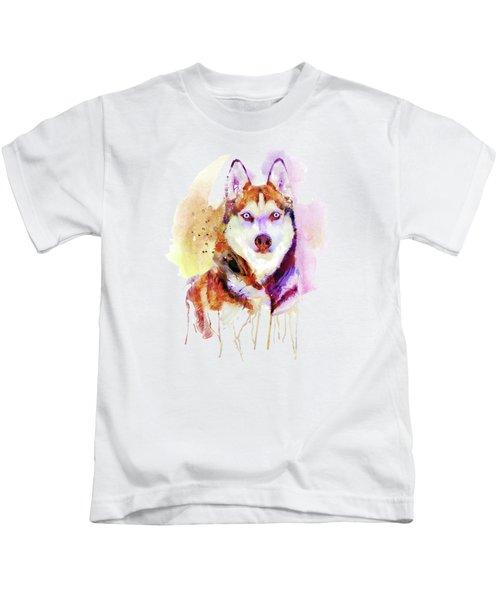 Husky Dog Watercolor Portrait Kids T-Shirt