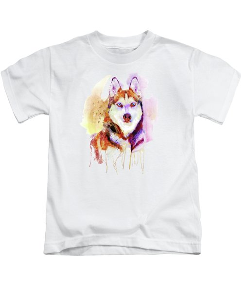 Husky Dog Watercolor Portrait Kids T-Shirt
