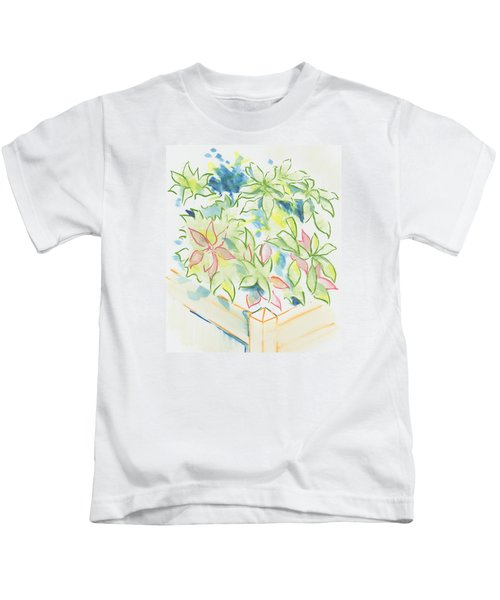 Hydrangea Plant Growing Out Of A Square Wooden Planter Kids T-Shirt