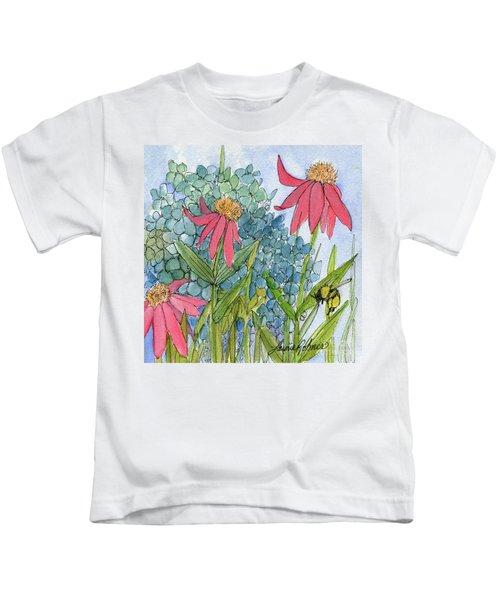 Hydrangea With Bee Kids T-Shirt