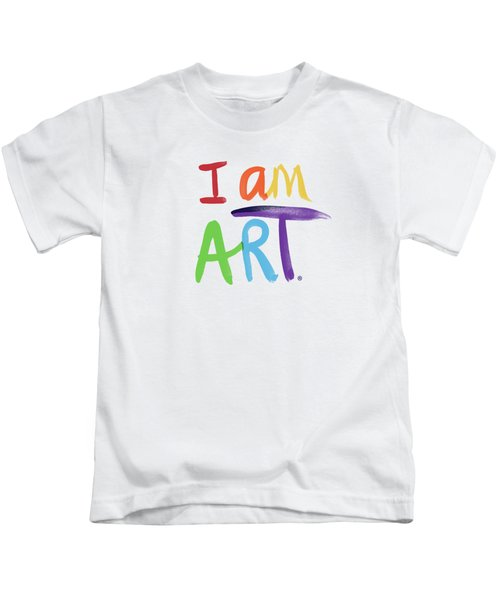 I Am Art Rainbow Script- Art By Linda Woods Kids T-Shirt