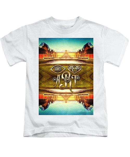 I Heart Art Louvre Museum Paris Da Vinci Gears Kids T-Shirt
