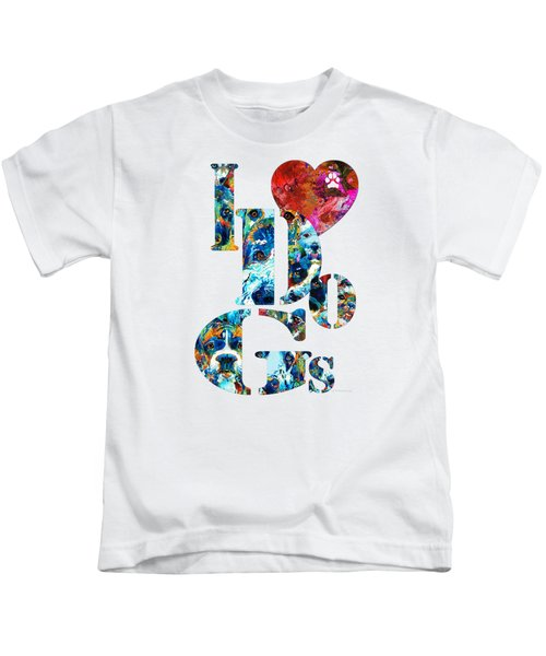 I Love Dogs By Sharon Cummings Kids T-Shirt by Sharon Cummings