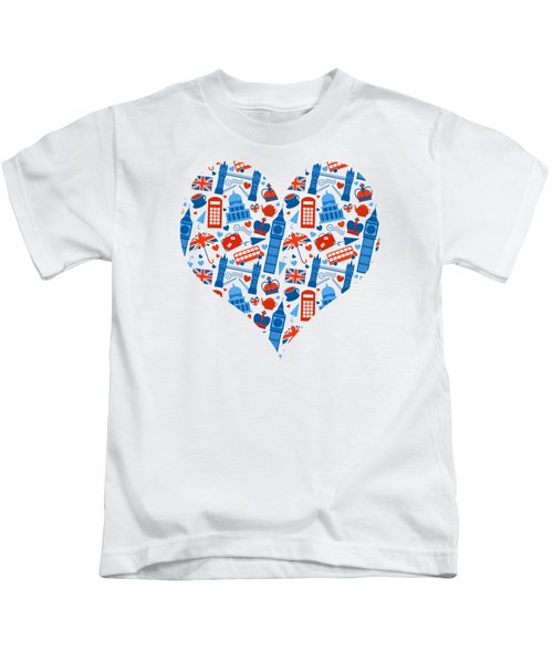 I Love England A Pattern For Anglophiles Kids T-Shirt