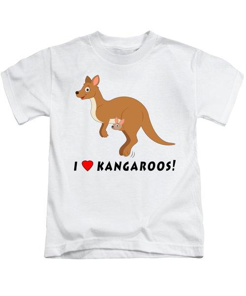 I Love Kangaroos Kids T-Shirt by A