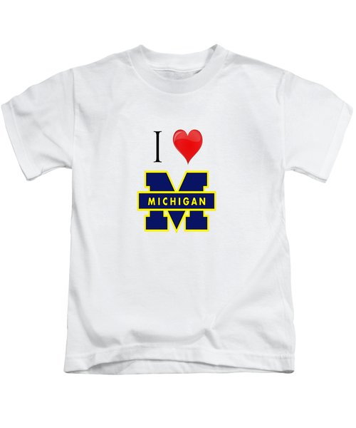I Love Michigan Kids T-Shirt by Pat Cook