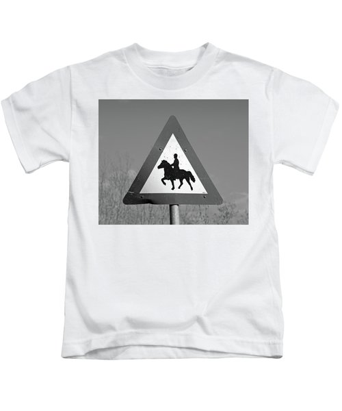 Icelandic Horse Crossing Sign Bw Kids T-Shirt