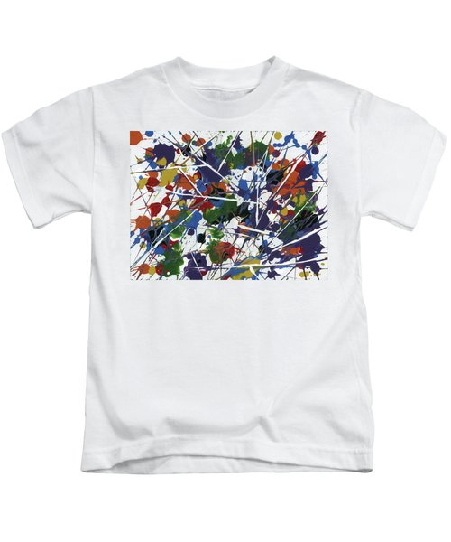 Kids T-Shirt featuring the painting In Glittering Rainbow Shards by Matthew Mezo