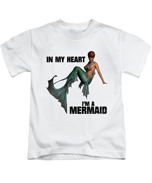In My Heart I'm A Mermaid Kids T-Shirt by Esoterica Art Agency