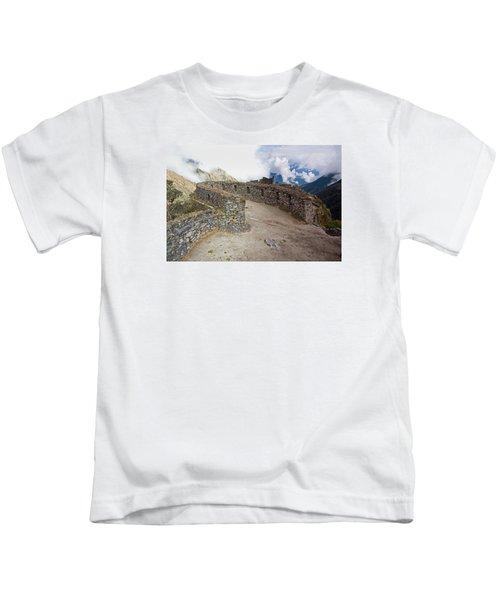 Inca Ruins In Clouds Kids T-Shirt