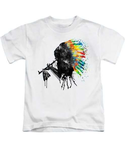 Indian Silhouette With Colorful Headdress Kids T-Shirt