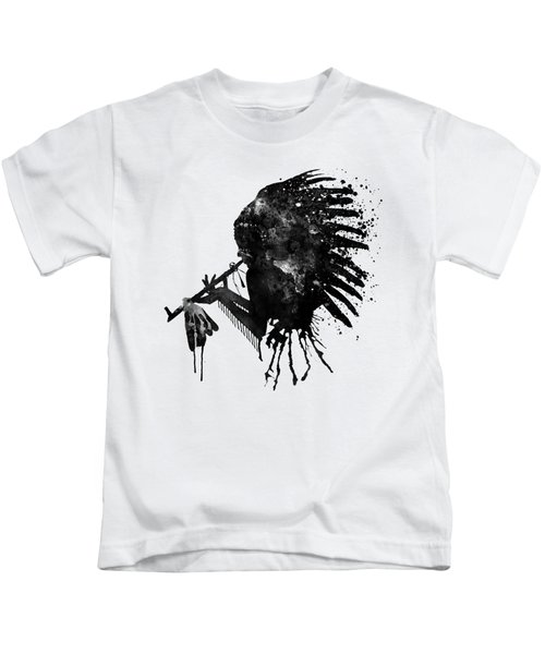 Indian With Headdress Black And White Silhouette Kids T-Shirt