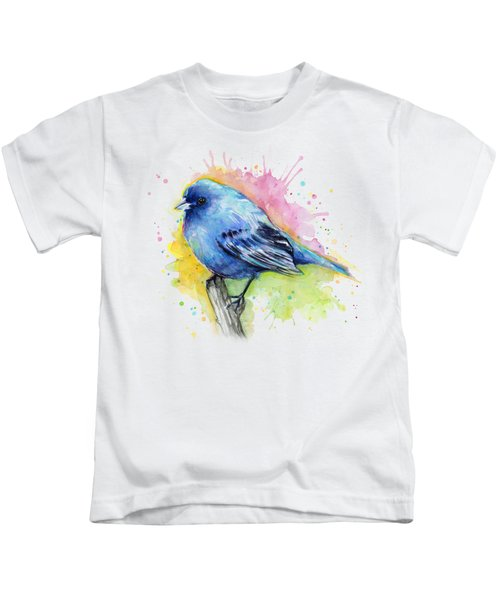 Indigo Bunting Blue Bird Watercolor Kids T-Shirt