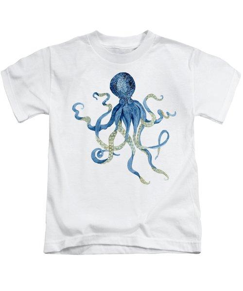 Indigo Ocean Blue Octopus  Kids T-Shirt