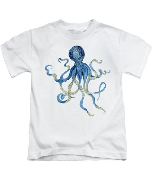 Indigo Ocean Blue Octopus  Kids T-Shirt
