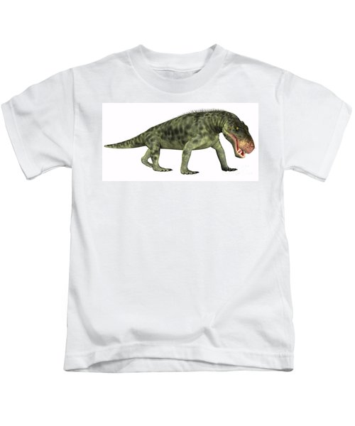 Inostrancevia Reptile On White Kids T-Shirt
