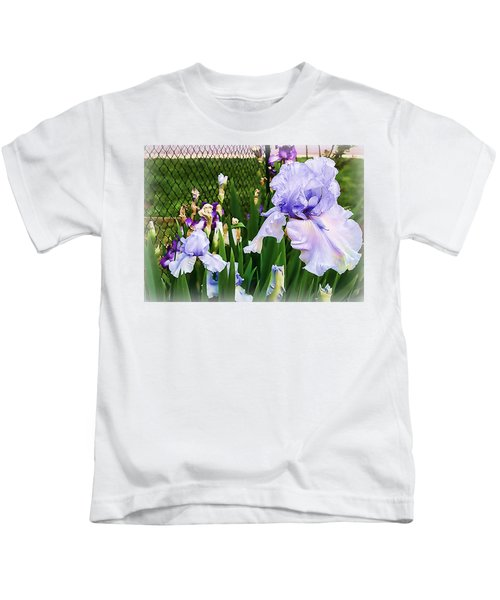 Iris At Fence Kids T-Shirt by Larry Bishop