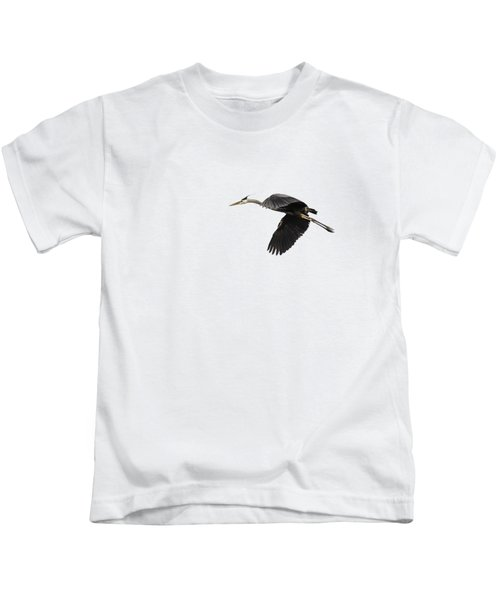 Isolated Great Blue Heron 2015-1 Kids T-Shirt by Thomas Young