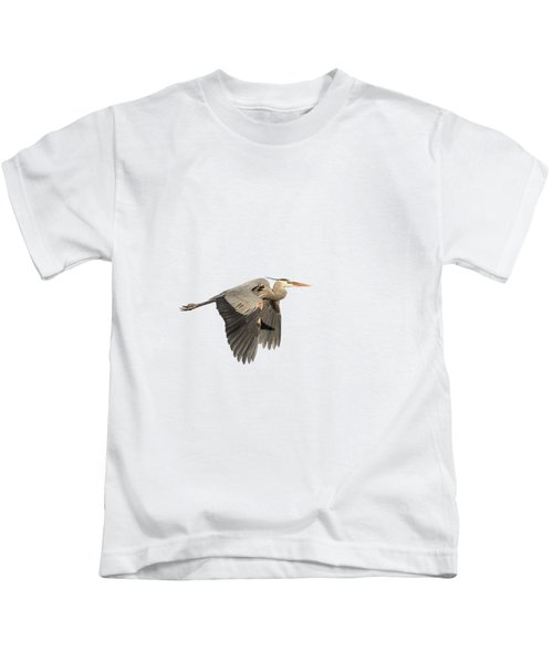 Isolated Great Blue Heron 2015-5 Kids T-Shirt by Thomas Young