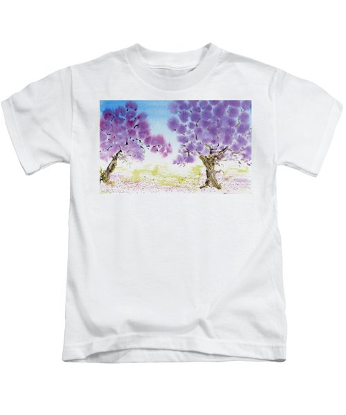 Jacaranda Trees Blooming In Buenos Aires, Argentina Kids T-Shirt