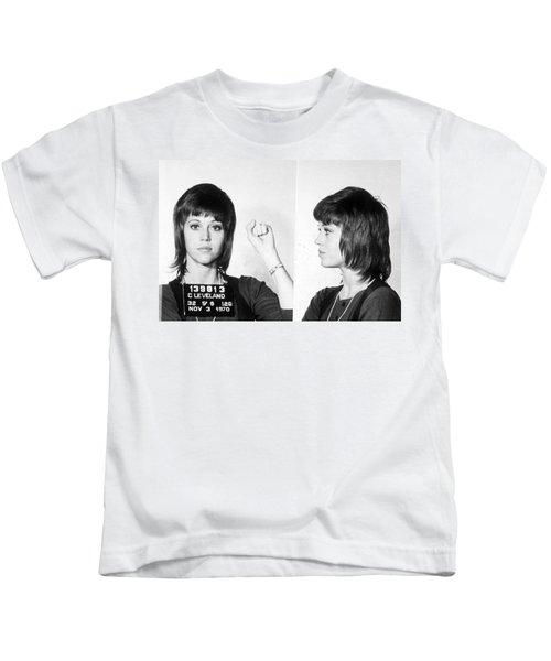 Jane Fonda Mug Shot Horizontal Kids T-Shirt