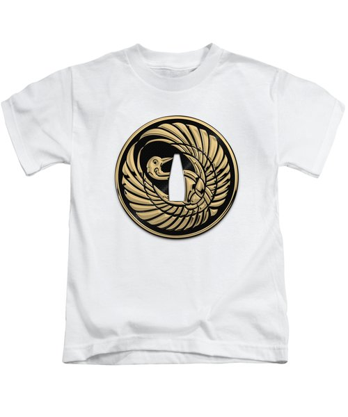 Japanese Katana Tsuba - Golden Crane On Black Steel Over White Leather Kids T-Shirt