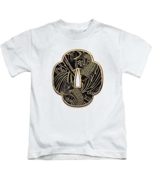 Japanese Katana Tsuba - Golden Twin Koi On Black Steel Over White Leather Kids T-Shirt