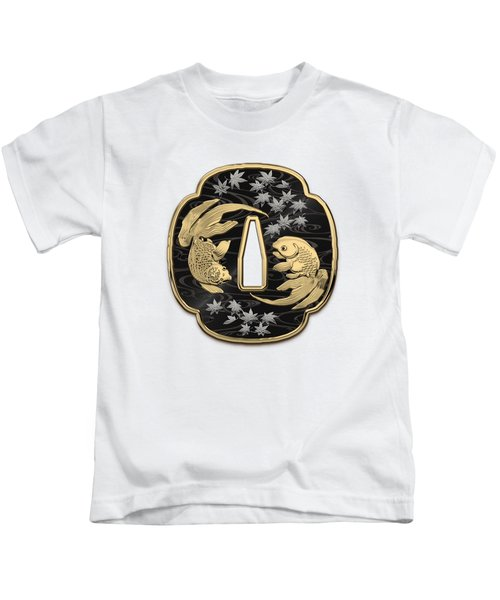 Japanese Katana Tsuba - Twin Gold Fish On Black Steel Over White Leather Kids T-Shirt