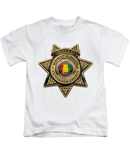 Jefferson County Sheriff's Department - Constable Badge Over White Leather Kids T-Shirt