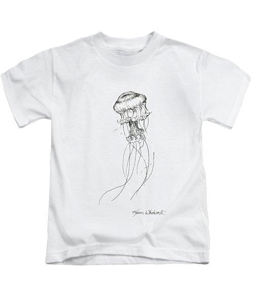 Jellyfish Sketch - Black And White Nautical Theme Decor Kids T-Shirt