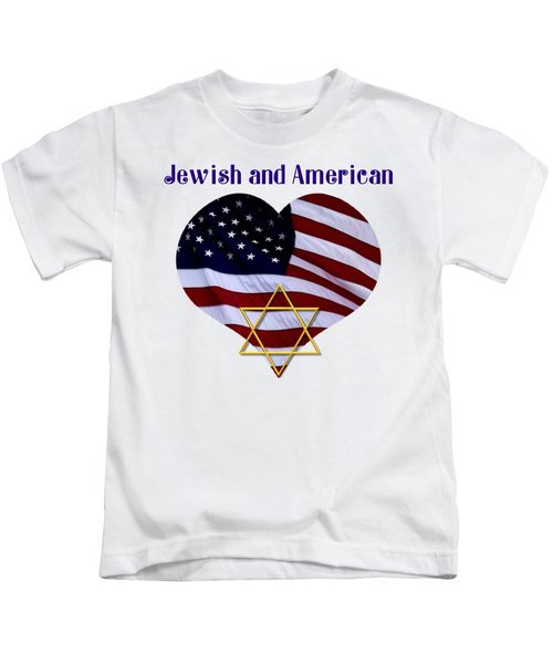 Jewish And American Flag With Star Of David Kids T-Shirt