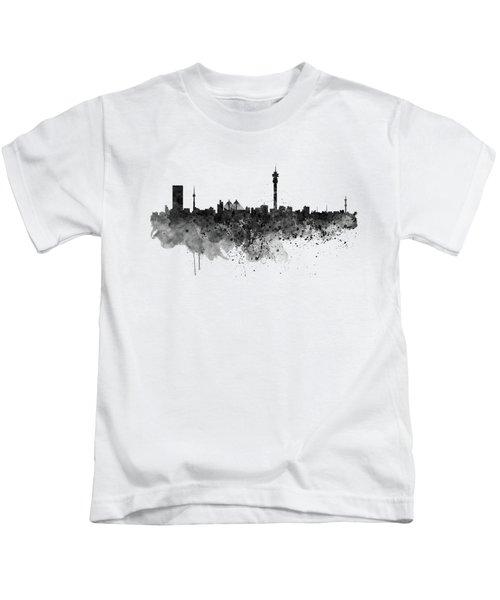 Johannesburg Black And White Skyline Kids T-Shirt