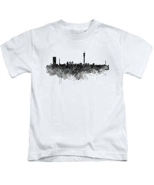 Johannesburg Black And White Skyline Kids T-Shirt