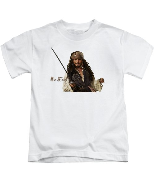 Johnny Depp, Pirates Of The Caribbean Kids T-Shirt by Maria Astedt