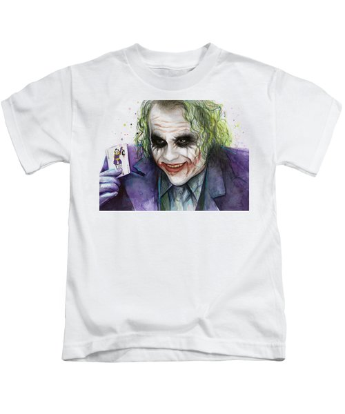 Joker Watercolor Portrait Kids T-Shirt by Olga Shvartsur