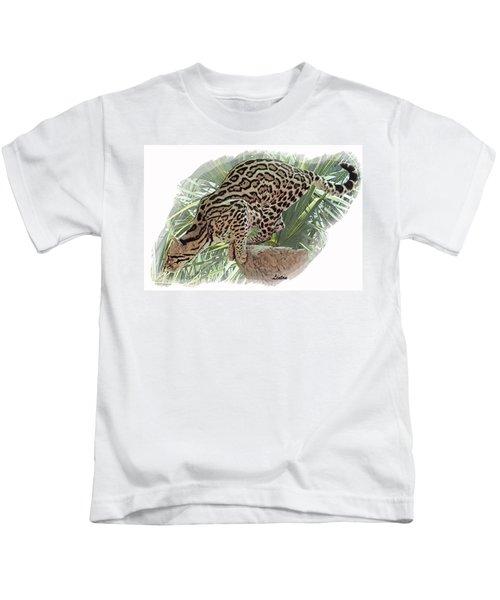 Pouncing Ocelot Kids T-Shirt