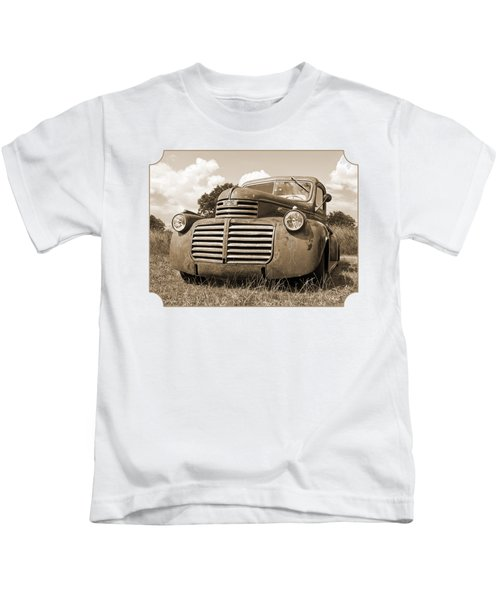 Just Resting - Vintage Gmc Truck In Sepia Kids T-Shirt