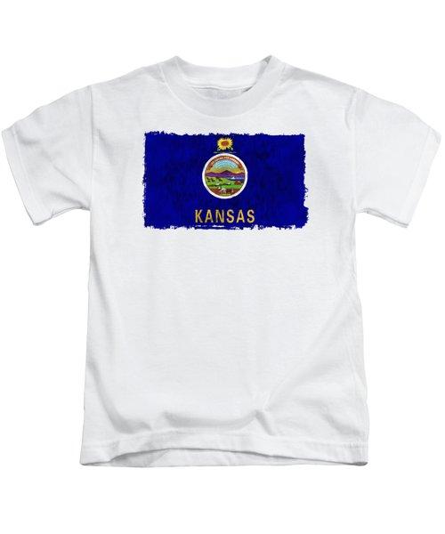 Kansas Flag Kids T-Shirt by World Art Prints And Designs