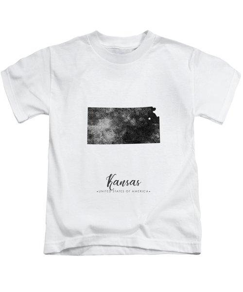 Kansas State Map Art - Grunge Silhouette Kids T-Shirt