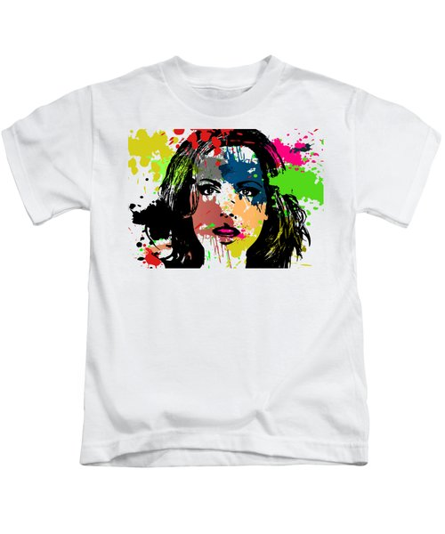 Kate Beckinsale Pop Art Kids T-Shirt